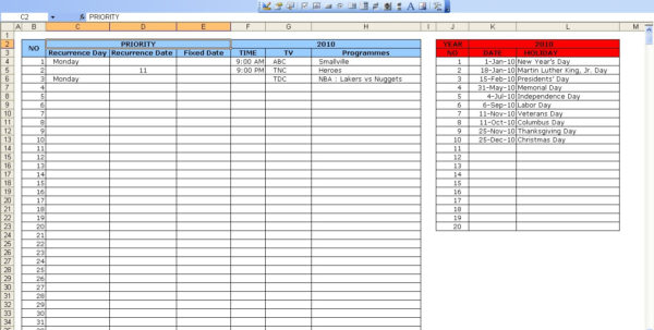 Tv Schedule | Excel Templates To Excel Spreadsheet Template For Scheduling