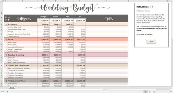 Wedding Budget Excel Template Spreadsheet Super Simple Destination To Sample Wedding Budget Spreadsheet