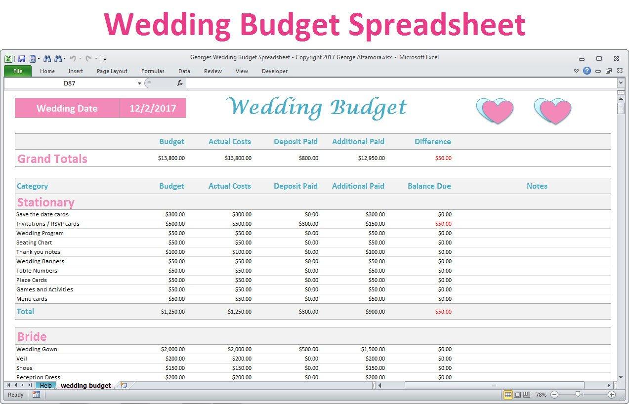 Wedding Budget Spreadsheet Planner Excel Wedding Budget | Etsy Throughout Wedding Budget Spreadsheet