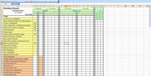 Wedding Planning Excel Spreadsheet Template On Excel Spreadsheet In Wedding Spreadsheet Template