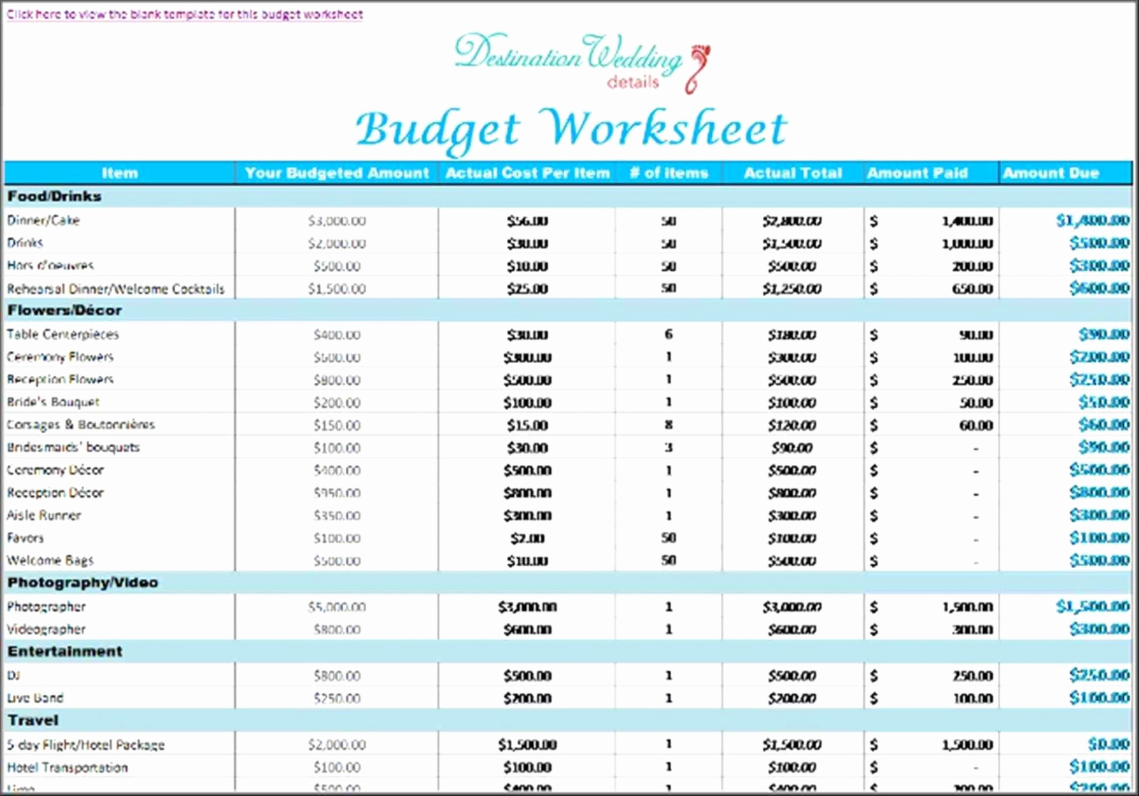 Wedding Planning Excel Template Beautiful Destination Wedding Within Wedding Planning Spreadsheet Template