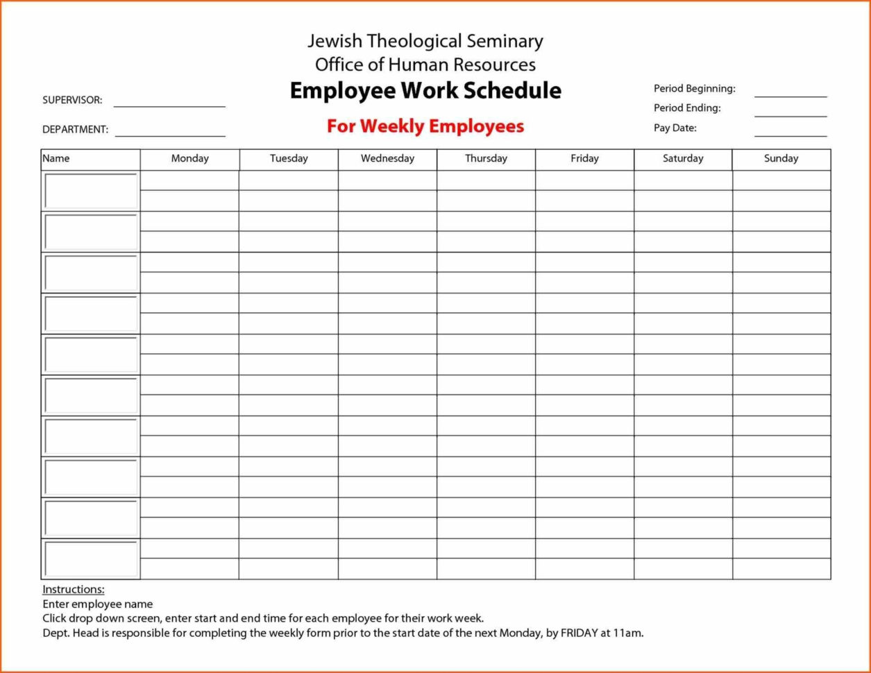 Week Schedule Print Out To Employee Schedule Templates Free