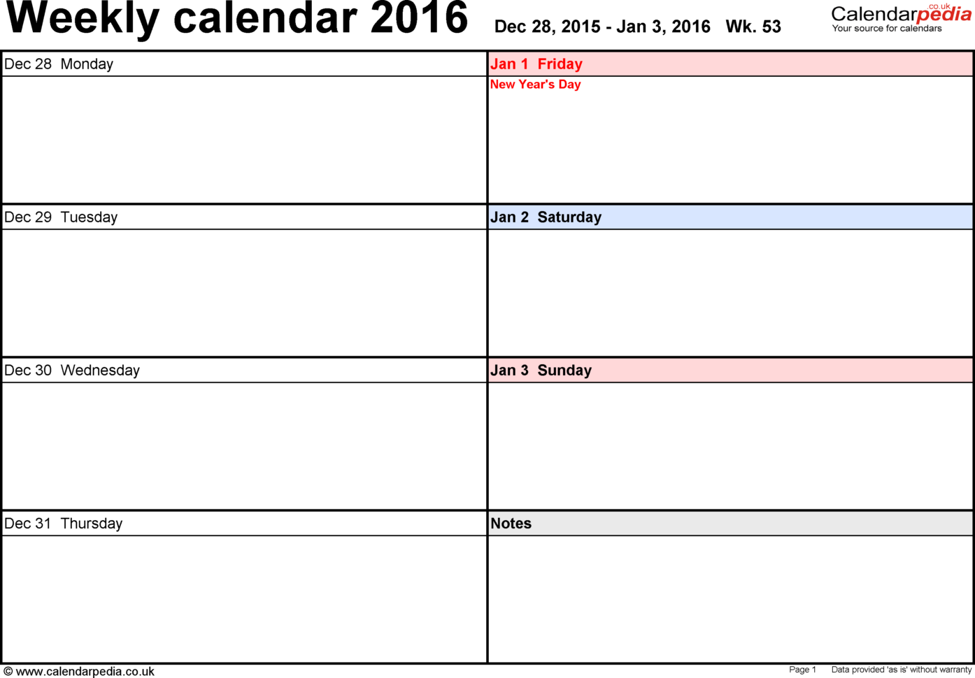 Weekly Calendar 2016 Uk   Free Printable Templates For Pdf For Monthly Work Schedule Template Pdf