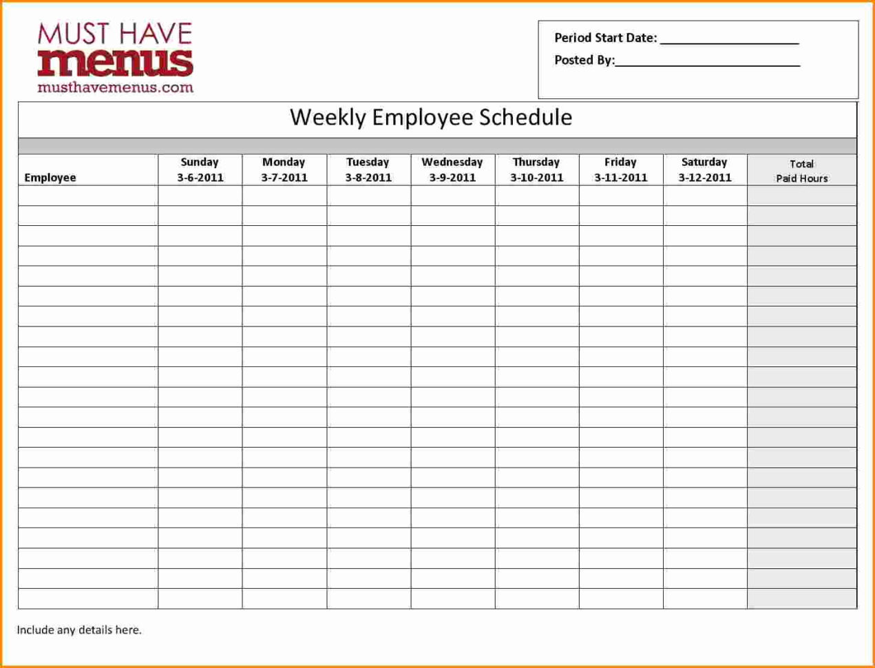 Weekly Employee Schedule Template 7 Monthly Employee Schedule Intended For Monthly Employee Schedule Template