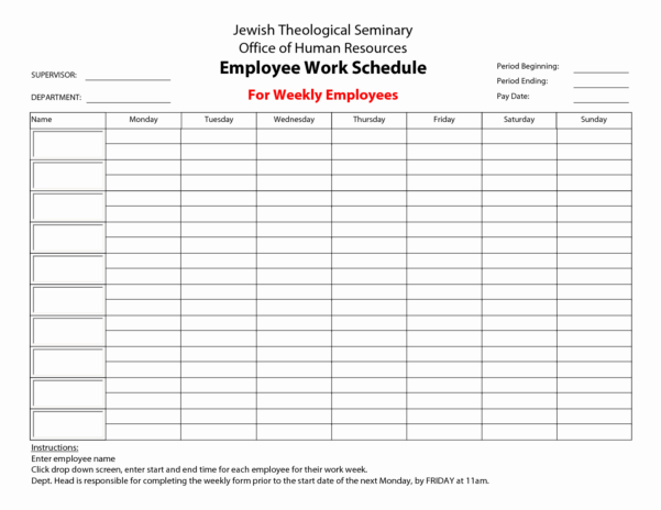 Weekly Employee Shift Schedule Template Excel Unique Monthly Work Inside Monthly Employee Shift Schedule Template