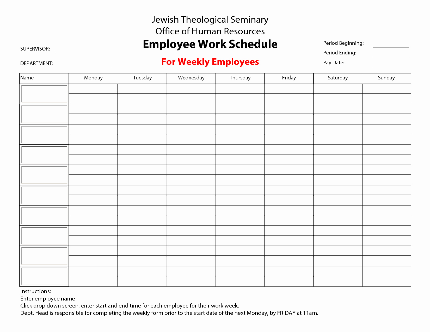 Weekly Employee Shift Schedule Template Excel Unique Monthly Work With Monthly Work Plan Template Excel