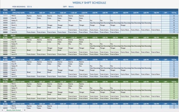 Weekly Employee Shift Schedule Template Excel Useful – Bwsde Throughout Weekly Employee Shift Schedule Template Excel
