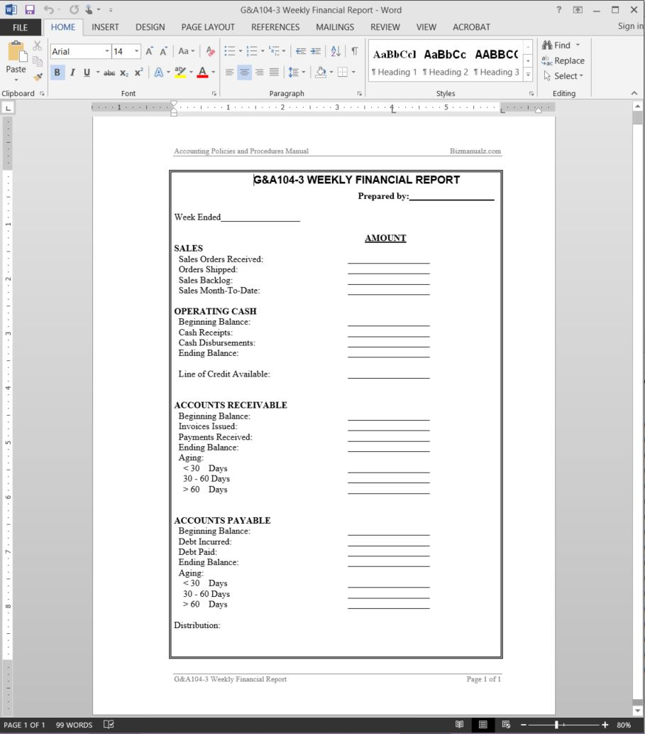 Weekly Financial Report Template With Manual Bookkeeping Template
