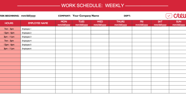 Weekly Work Schedule Template I Crew Inside Employee Weekly Schedule Template Employee Weekly Schedule Template Example of Spreadsheet