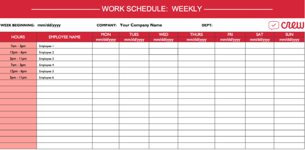 Weekly Work Schedule Template I Crew Inside Employee Weekly Schedule Template