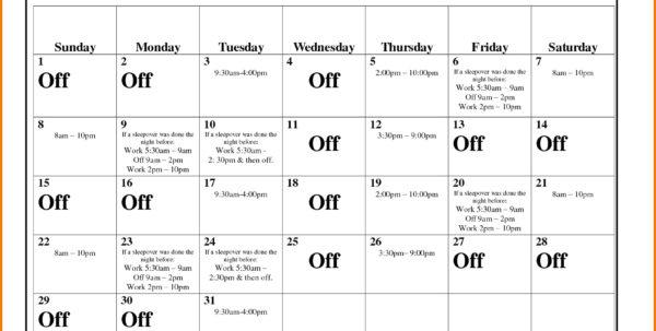 Work Calendar Template Luxury Monthly Work Schedule Template Example For Monthly Employee Schedule Template