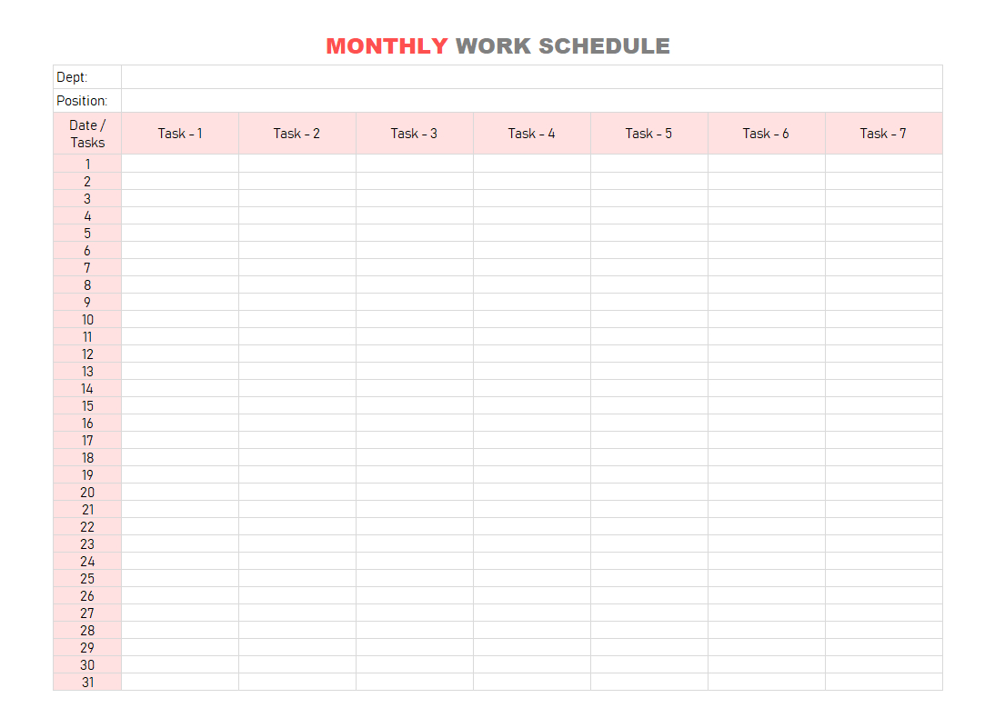 Work Schedule Template | Daily | Weekly | Monthly For Excel Throughout Monthly Work Schedule Template Pdf