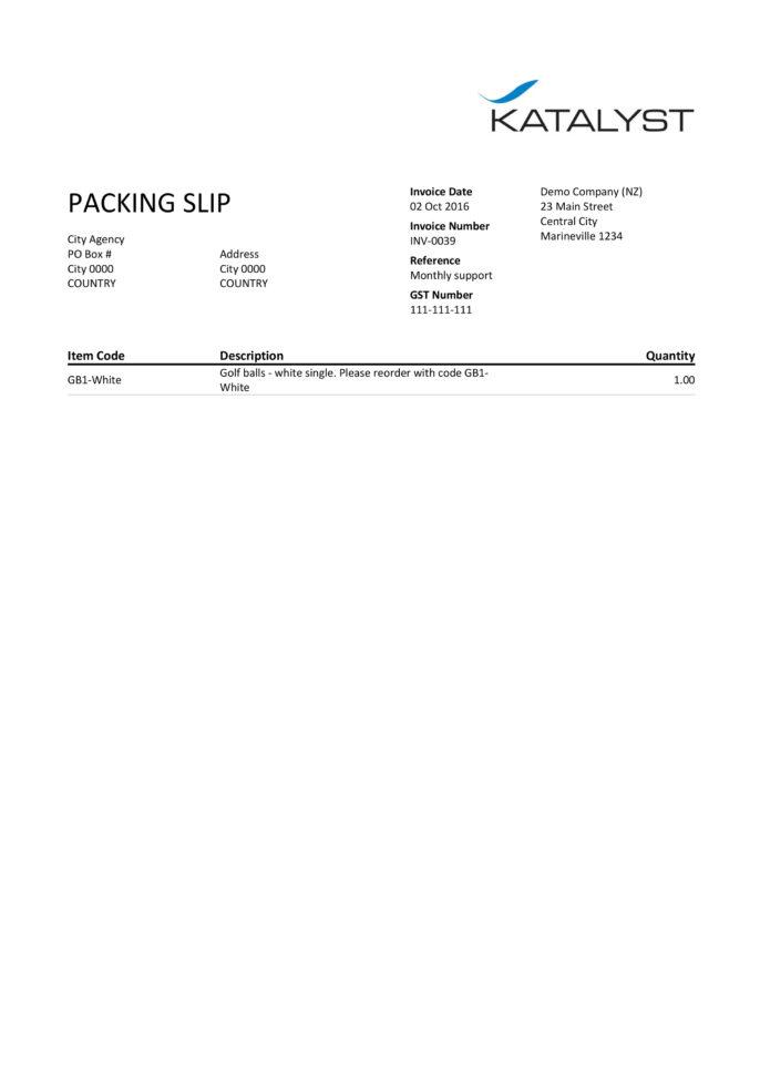Xero Custom Template   Packing Slip   Katalyst Office   Bookkeeper Within Office Bookkeeping Template