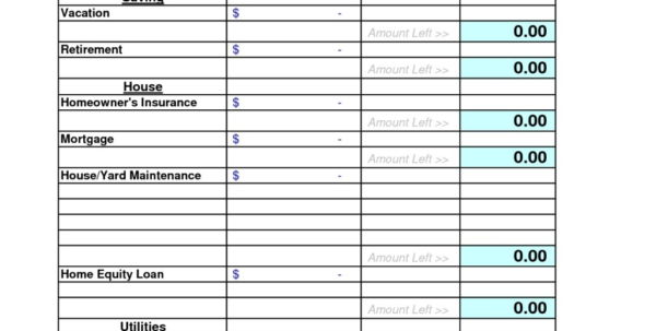 10 Best Images Of Free Household Budget Form – Free Printable In Free Home Budget Spreadsheet