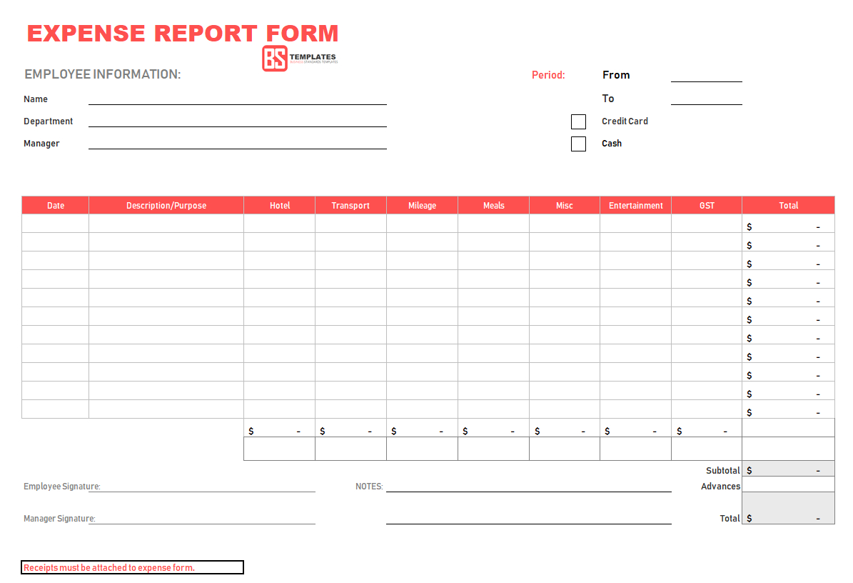 10  Expense Report Template   Monthly, Weekly Printable Format In Excel In Expense Report Form Excel