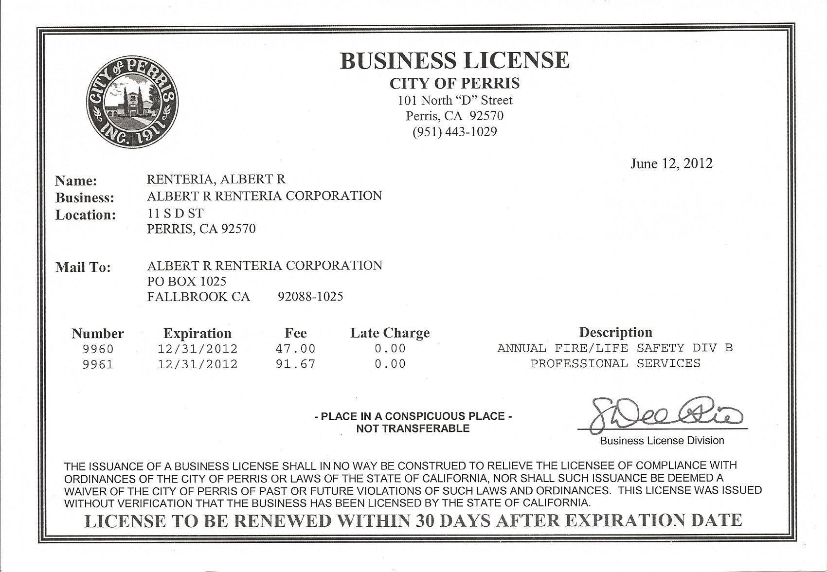 11 Best Images Of Business License And Permits   Business Licenses To Business License Samples