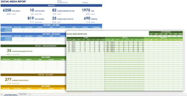 12 Free Social Media Templates   Smartsheet Inside Social Media Analytics Spreadsheet
