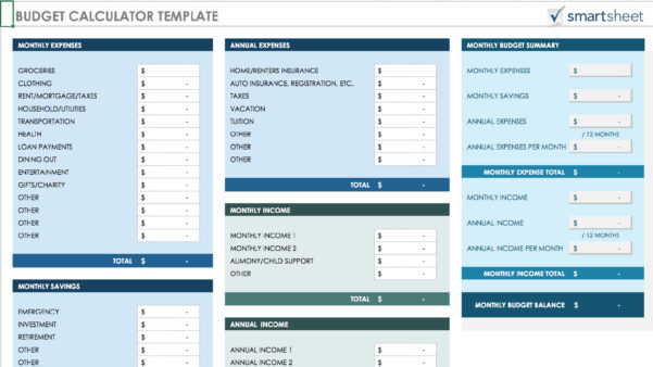 15 Easy To Use Budget Templates | Gobankingrates To Household Budget Calculator Spreadsheet
