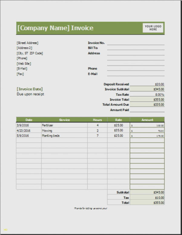 15 Fresh Sample Lawn Care Invoice | Free Invoice Template Throughout Landscaping Invoice Template