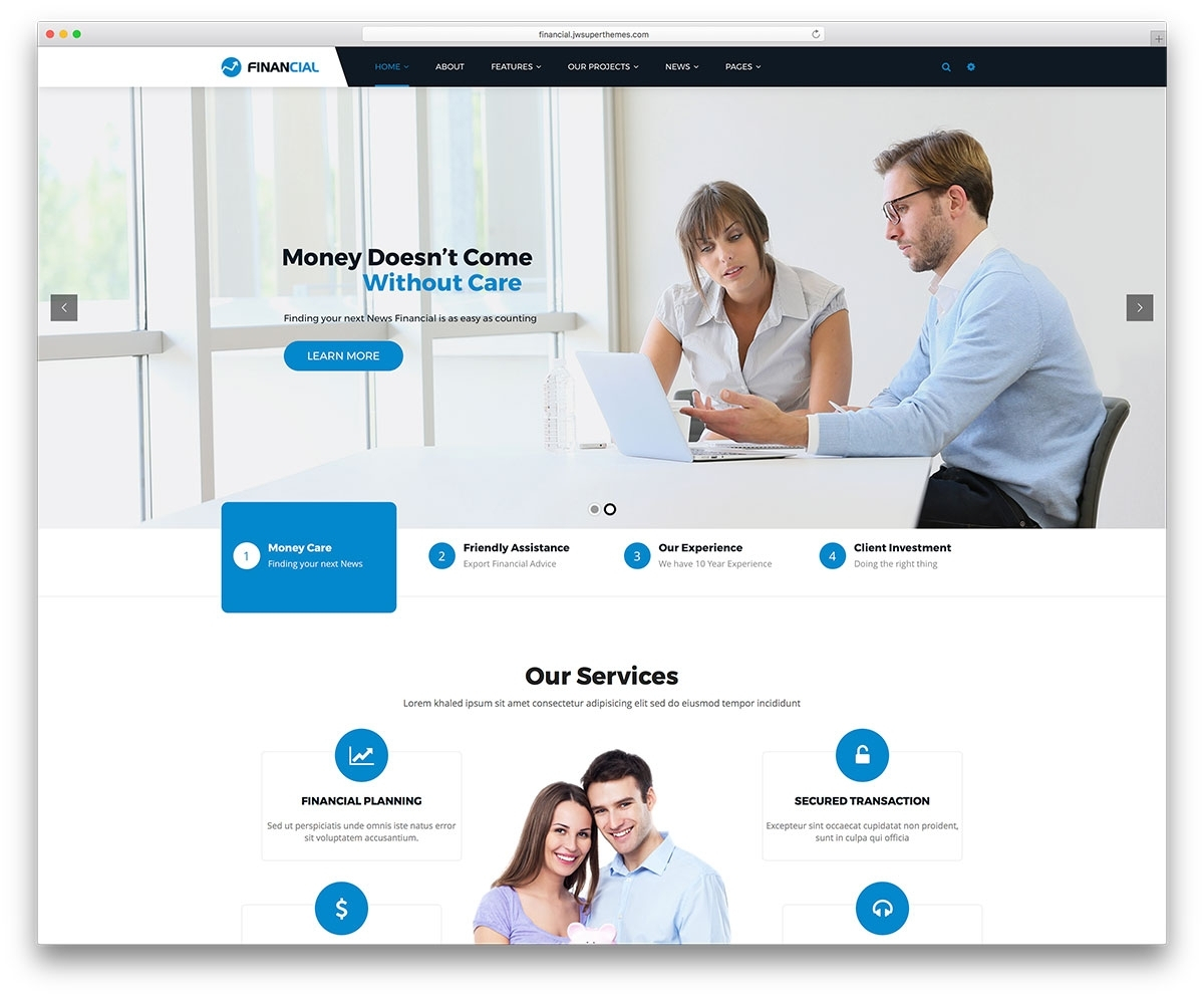 17 Best Financial Company WordPress Themes 2017 Colorlib Also Throughout Accounting Website Templates Free Download