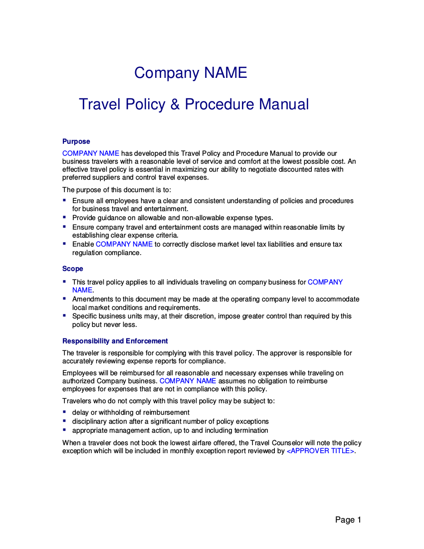 19  Travel Policy Examples & Samples And Business Expense Policy Template