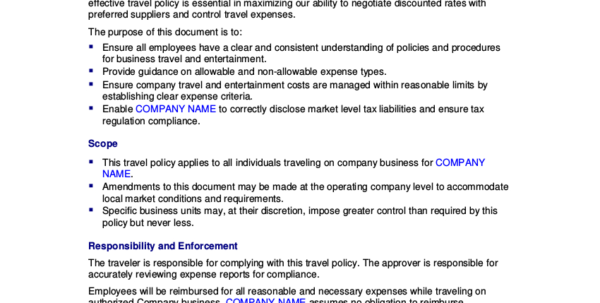 19  Travel Policy Examples & Samples For Business Travel Expense Policy Templates