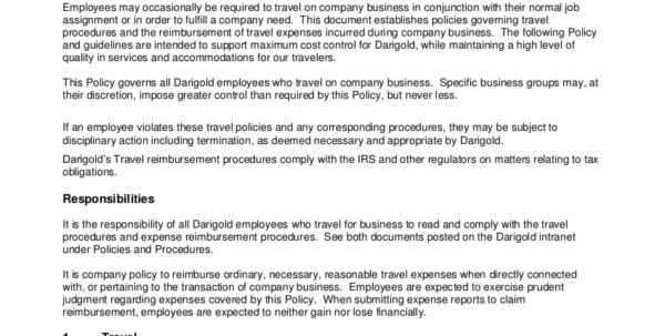 19  Travel Policy Examples & Samples In Business Travel Expense Policy Templates