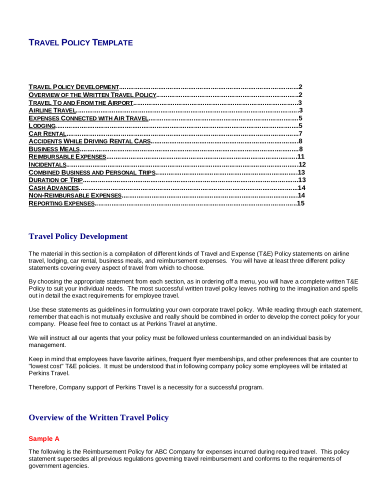 19  Travel Policy Examples & Samples Intended For Business Travel Expense Policy Templates