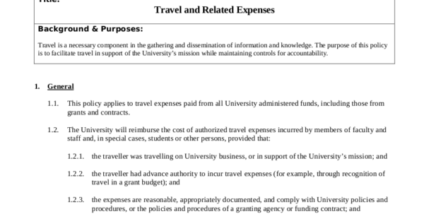 19  Travel Policy Examples & Samples Throughout Business Expense Policy Template