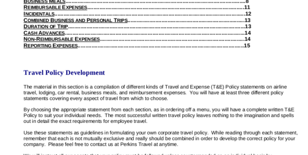 19  Travel Policy Examples & Samples With Business Expense Policy Template