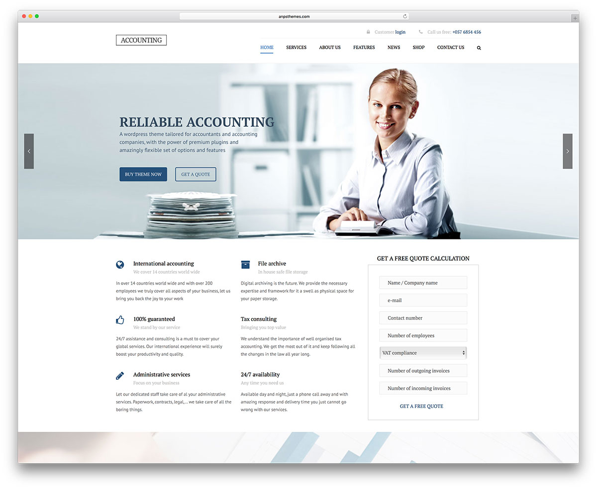 20 Best Financial Company WordPress Themes 2018 - Colorlib Within Accounting Website Templates Free Download