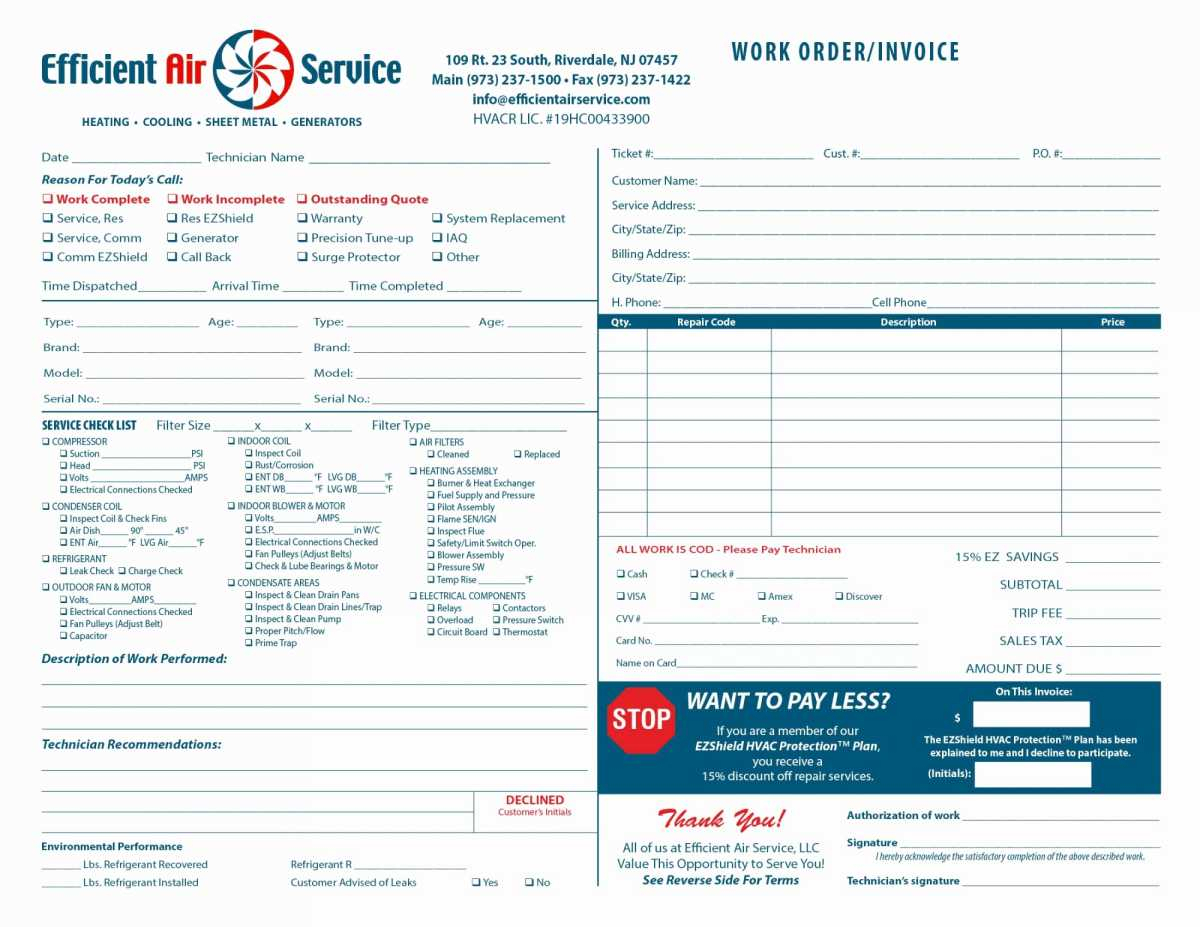 20  Premium Hvac Invoice Template Free   Lancerules Worksheet For Hvac Invoice Template
