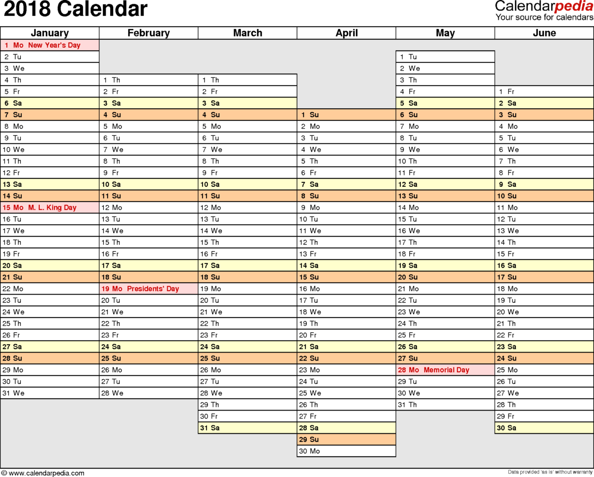 2018 Calendar   Download 17 Free Printable Excel Templates (.xlsx) In Downloadable Spreadsheets