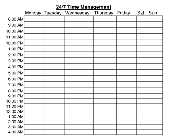 24 Hour Time Management Chart Templates 298418 | Village Family For Time Management Chart Excel