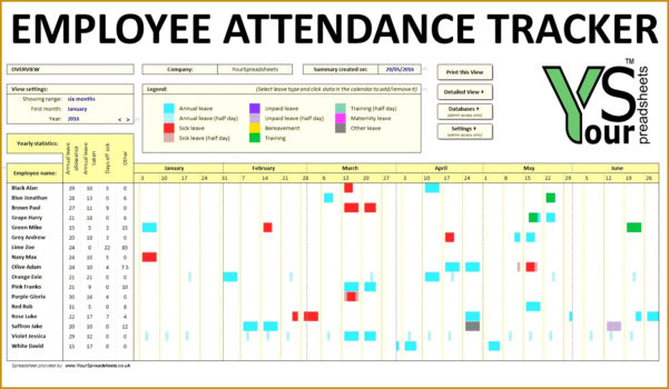 3 Employee Time Off Tracker Template | Fabtemplatez In Tracking Employee Time Off Excel Template
