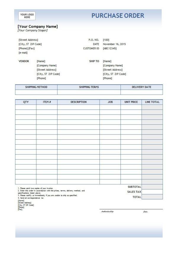 37 Free Purchase Order Templates In Word & Excel Throughout Purchase Order Spreadsheet
