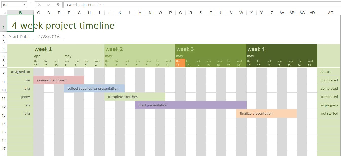 4 Week Project Timeline | Excel Templates For Every Purpose In Project Timeline Excel Template Free Download