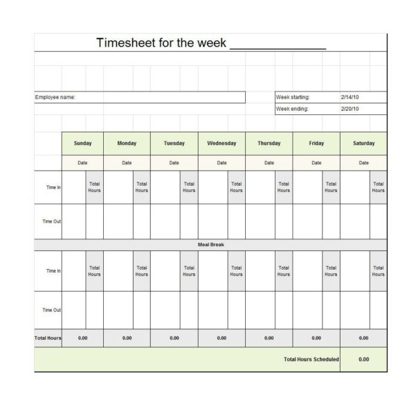 40 Free Timesheet / Time Card Templates   Template Lab For Employee Timesheet Spreadsheet