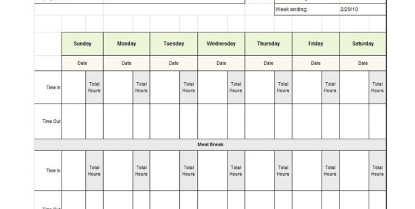 40 Free Timesheet / Time Card Templates   Template Lab For Payroll Weekly Timesheet Template