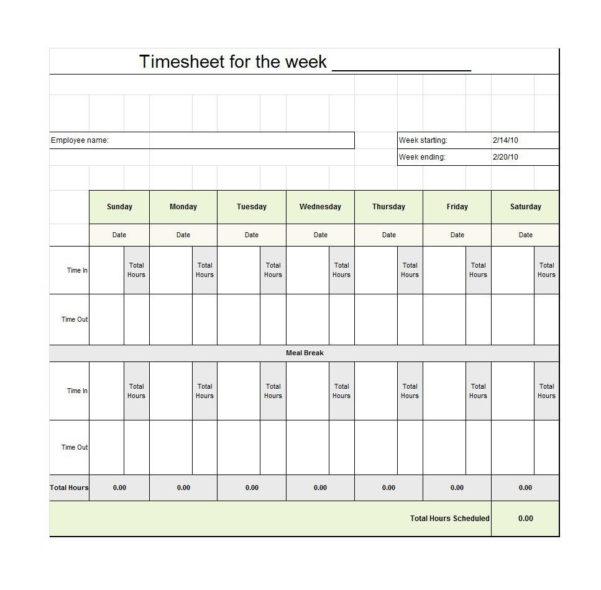 40 Free Timesheet / Time Card Templates   Template Lab Inside Employee Timesheet Template