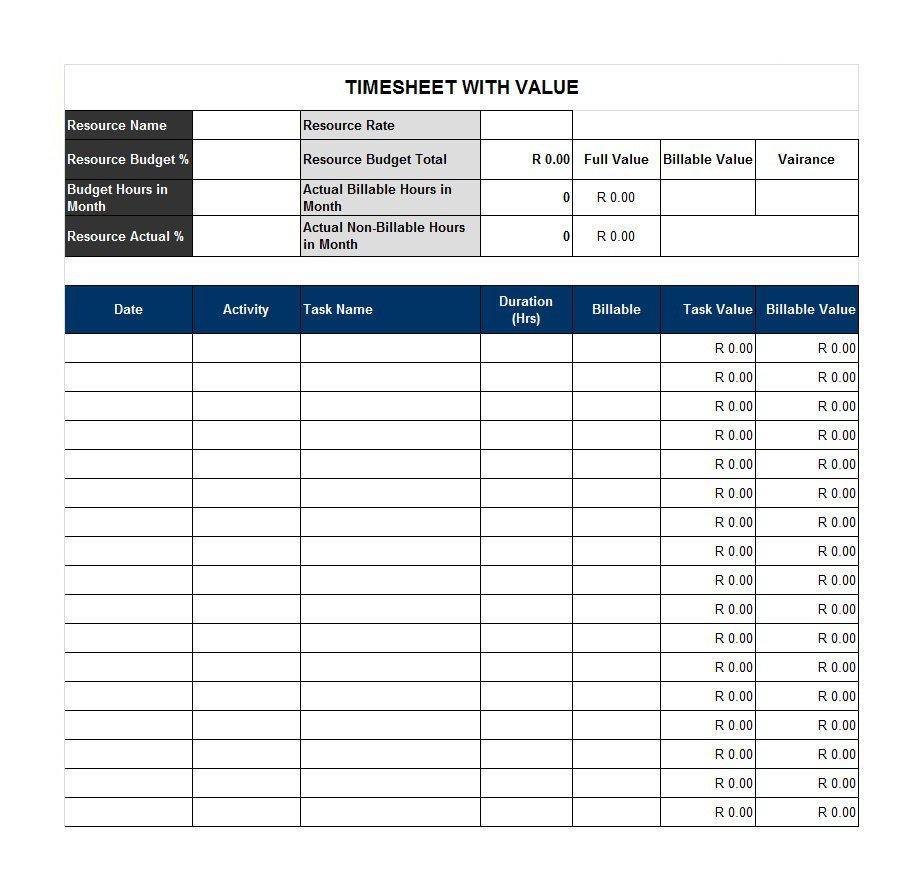 40 Free Timesheet / Time Card Templates   Template Lab Intended For Project Time Tracking Template