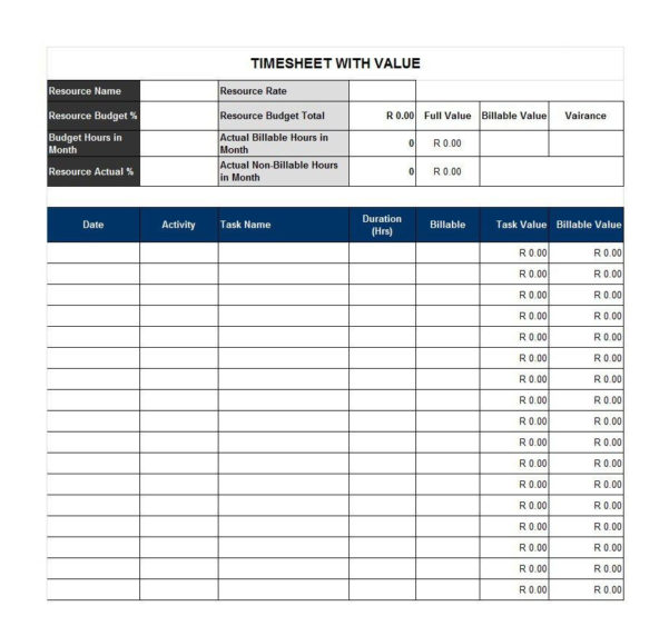 40 Free Timesheet / Time Card Templates   Template Lab With Task Time Tracker Excel
