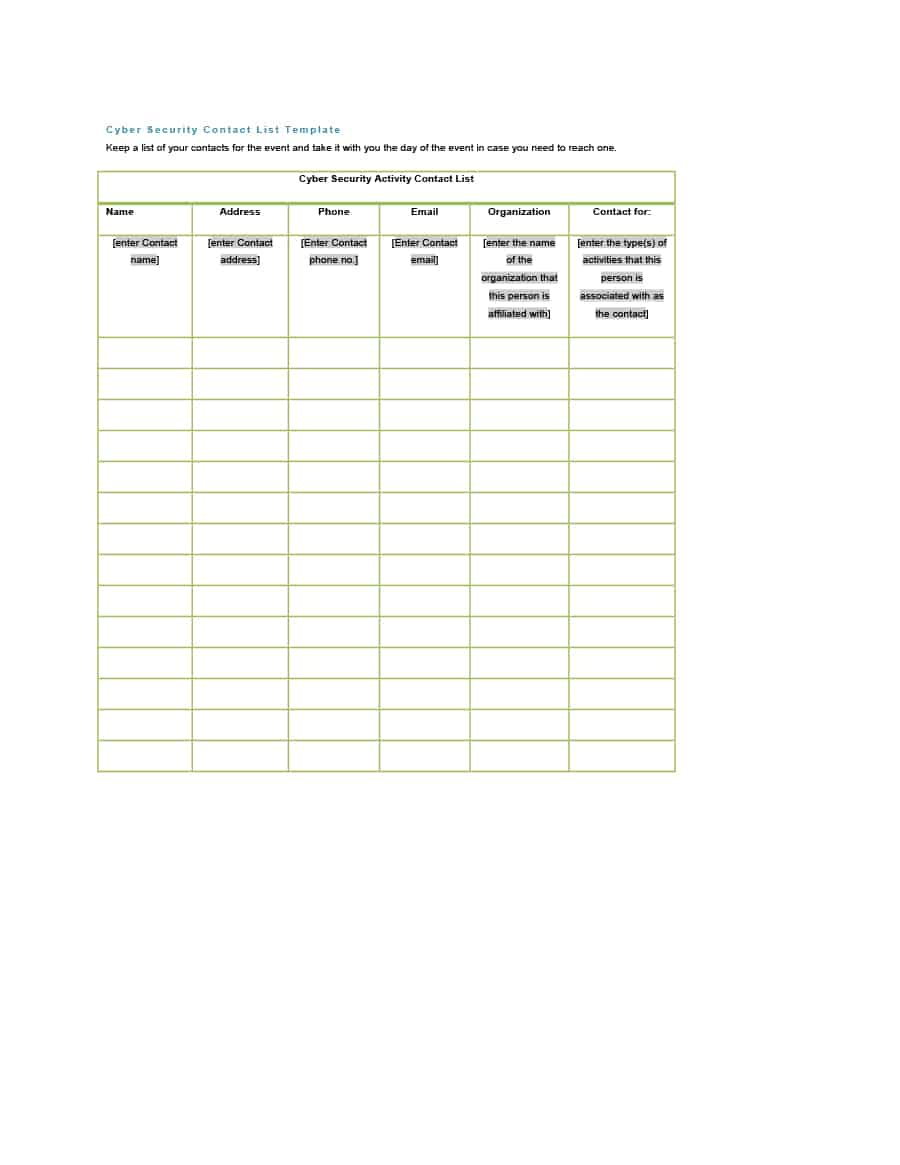40 Phone & Email Contact List Templates [Word, Excel]   Template Lab Throughout Email Contact List Template Email Contact List Template Expense Spreadshee Expense Spreadshee email contact list template