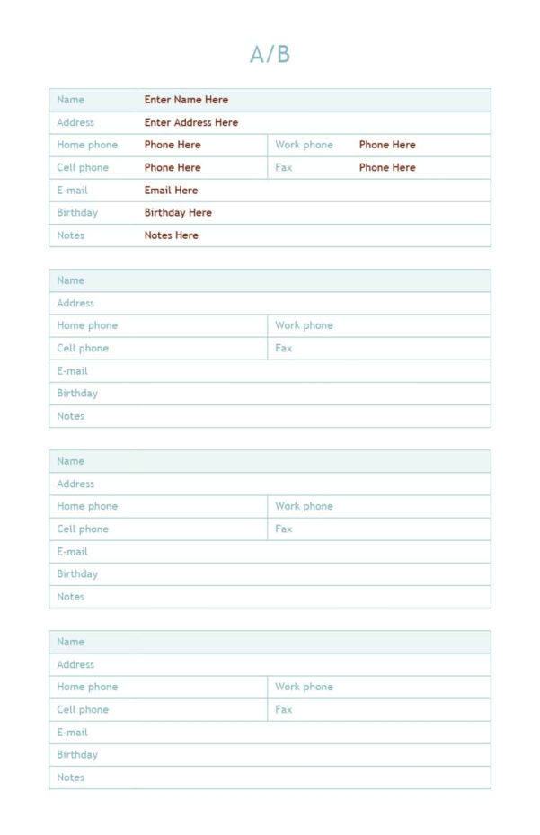 40 Phone & Email Contact List Templates [Word, Excel]   Template Lab With Email Contact List Template