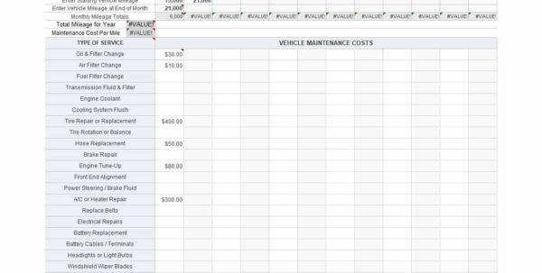 auto maintenance checklist spreadsheet automotive maintenance spreadsheet