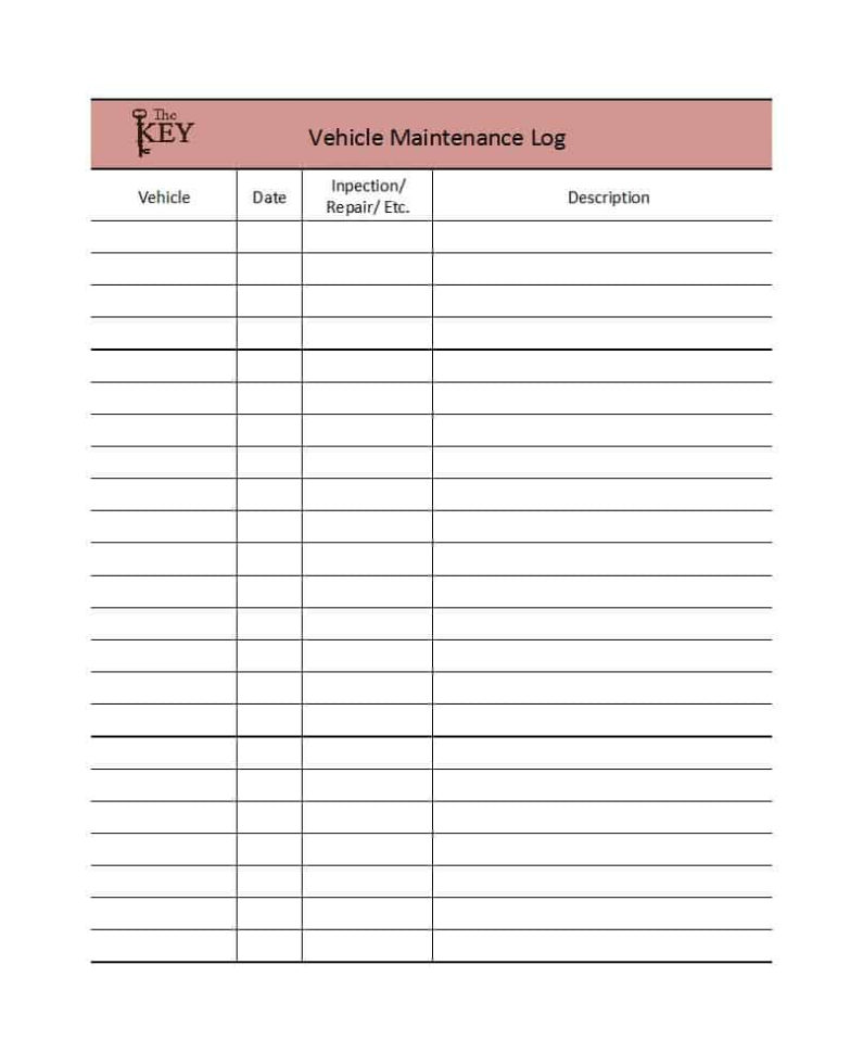 40 Printable Vehicle Maintenance Log Templates   Template Lab In Truck Maintenance Spreadsheet