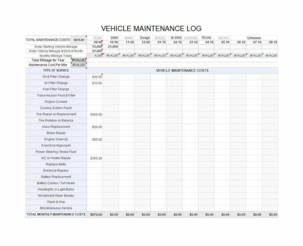 40 Printable Vehicle Maintenance Log Templates   Template Lab To Truck Maintenance Spreadsheet