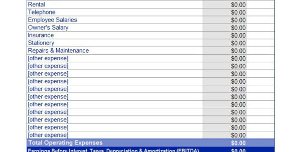 business operating expenses template