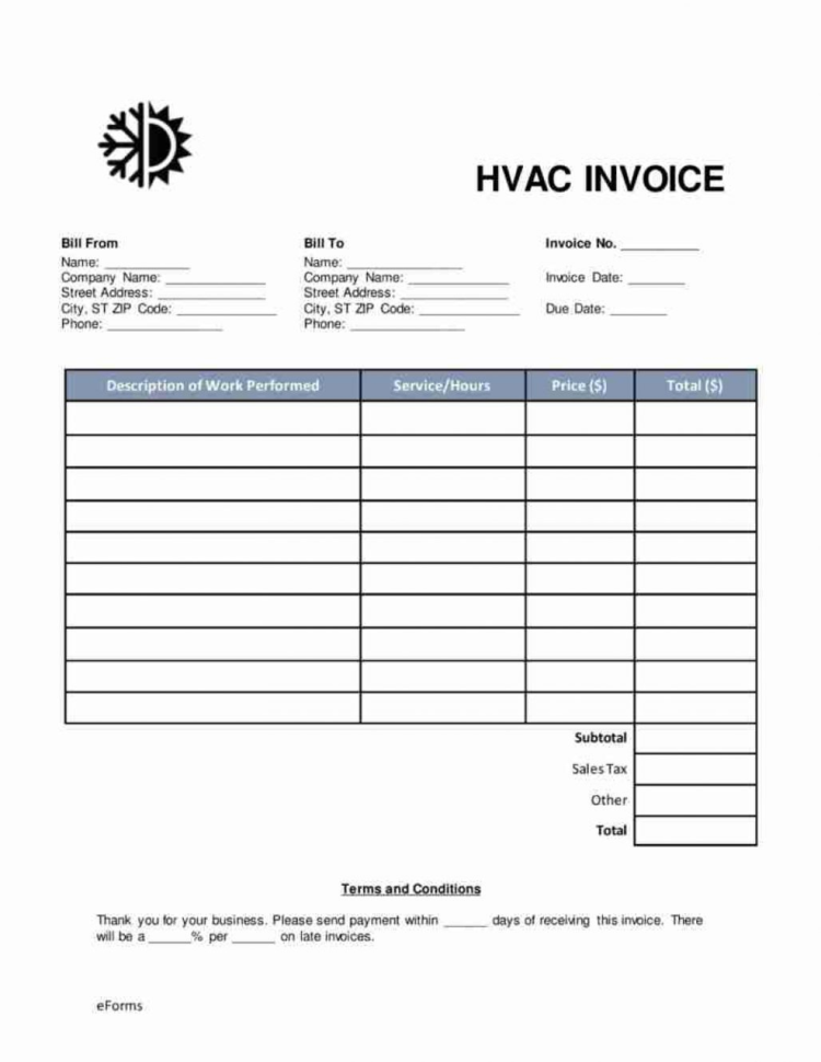 45 Hvac Invoice Template Ideal – Samekh Throughout Hvac Invoice Template