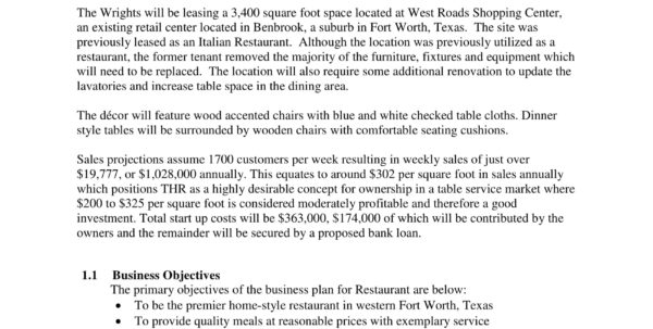 5  Restaurant Business Plan Forms   Pdf Within Form Business Plans